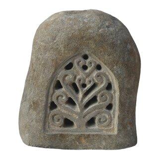 Steinlaterne mit Ornament, H 35 cm, Steinmetzarbeit aus Flussstein