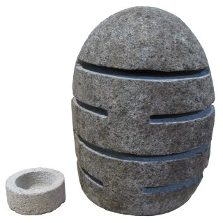 Stone lantern with slits, H 20 - 25 cm, with tea candle holder, hand carved from riverstone