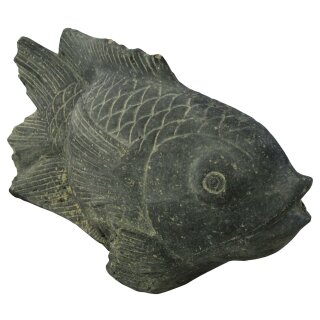 Fish fountain on base, L 45 cm, black antique