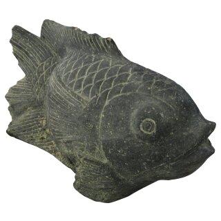Fisch auf Sockel als Wasserspiel, L 45 cm, schwarz antik