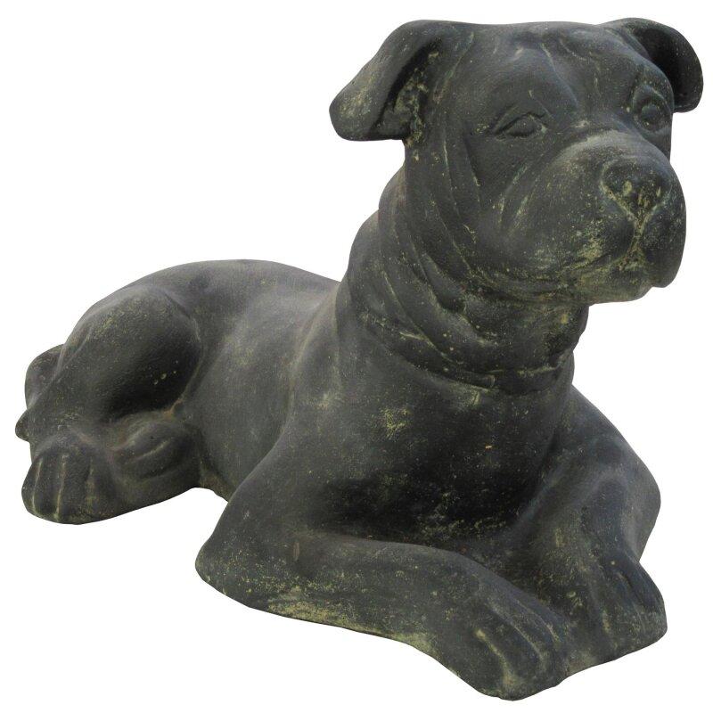 liegender hund l 55 cm schwarz antik