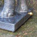 Elefant auf Sockel als Wasserspiel, H 75 cm, schwarz antik