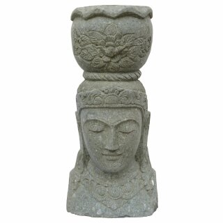 Dewi Head with pot, H 80 cm, hand carved from basanite