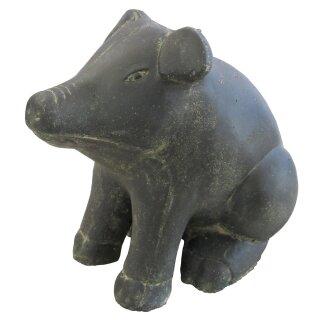 Sitzendes Schwein, verschiedene Größen H 20 - 42 cm, schwarz antik