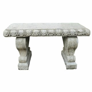 Exclusive garden bench with elaborate carving, L 118 cm, hand carved from basanite