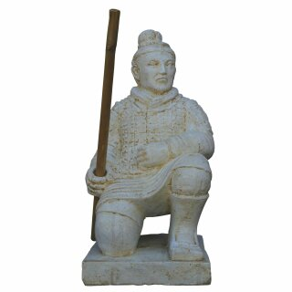 Kneeling Chinese warrior, H 50 cm, white antique