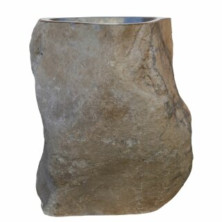 Natural stone pedestal basin, H 87 cm, various versions, hand carved from riverstone