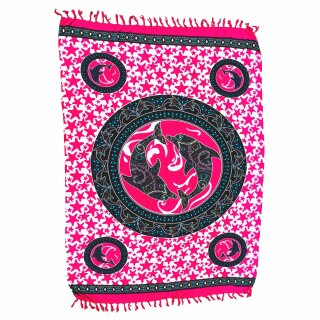 Premium Bali Sarong, Pareo, mit Kokosnussschnalle, Druck mit Delfine, pink