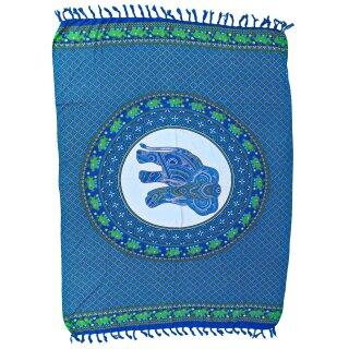 Premium Bali Sarong, Pareo, mit Kokosnussschnalle, Druck mit Elefant, blau