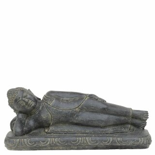 Lying Buddha, L 40 cm, cast stone, black antique