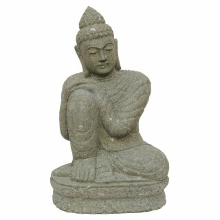"""Sitting Buddha """"Relax"""", H 75 cm, hand carved from basanite"""