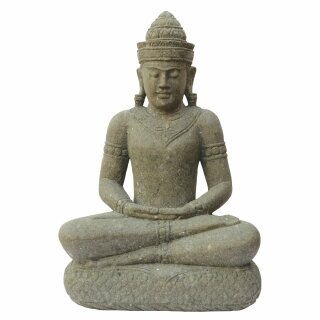 "Sitting Buddha ""Khmer"", H 75 cm, hand carved from basanite"