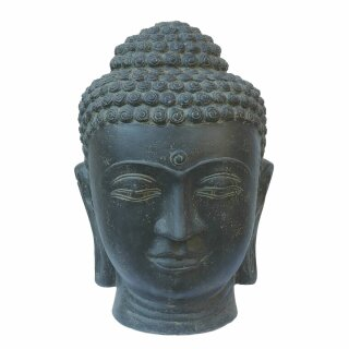 Buddha-head fountain, without basin, H 75 cm, in black antique