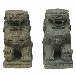 """Chinese Temple Lions """"Fu Dogs"""", H 60 cm, hand carved from lavastone (pair)"""