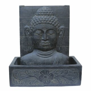 Buddha-Face / Buddha-Relief fountain, with basin, H 90 cm, black antique