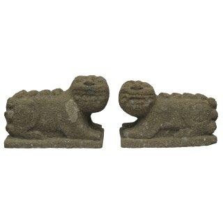 Korean Lion-Dogs (haetae), L 60 cm, hand carved from basanite (pair)