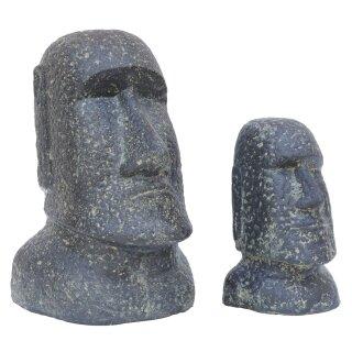 Set of 2 Moai, Easter Island Head, H 20 and 30 cm, black antique