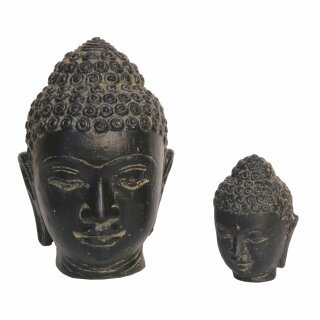 Buddha Head, set of 2, H 10 and 20 cm, black antique