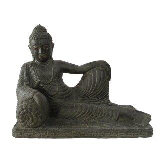 Liegender Buddha, verschiedene Größen L 60 - 80 cm, schwarz antik