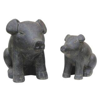 2er-Set sitzende Schweine, schwarz antik