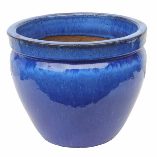 Planter flowerpot Paeonia, various sizes, in royal blue glazed, frostproof