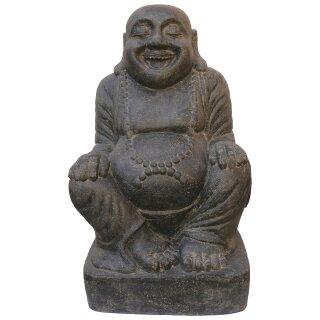"""Sitzender Buddha """"Happiness"""", H 100 cm, schwarz antik"""