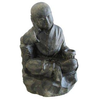 Sitting monk with bowl, H 44 cm, black antique