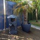 Standing monk, praying, H 80 cm, black antique