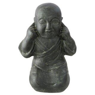 "Sitting monk ""hear nothing"", H 45 cm, black antique"