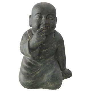 """Sitzender Mönch """"Nichts sagen"""", H 41 cm, schwarz antik"""
