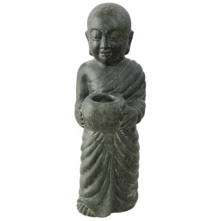 Stehender Mönch mit Schale, H 60 cm, schwarz antik