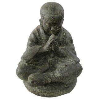Sitzender Mönch, betend, verschiedene Größen H 19 - 80 cm, schwarz antik