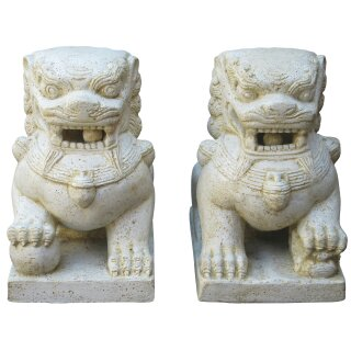 "Temple lions ""Fu Dogs"", various sizes H 40 - 72 cm, in black antique or white antique (pair)"