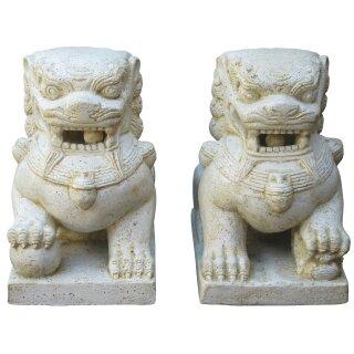 """Tempellöwen """"Fu Dogs"""", verschiedene Größen H 40 - 72 cm, schwarz antik oder weiß antik (Paar)"""