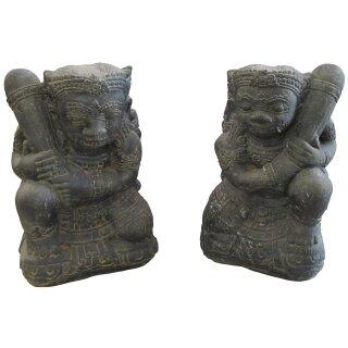 """Temple guardian """"Gopala"""", H 46 cm (pair), black antique"""