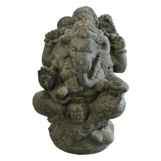 "Sitting Ganesha ""India"", various sizes H 60 - 135 cm, black antique"
