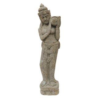 Standing Dewi Tara, H 150 cm, hand carved from basanite