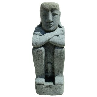 Easter Island Inhabitant, sitting, male, various sizes H 80 - 150 cm, hand carved from basanite