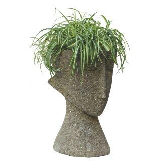 """Pflanztopf """"Abstrakter Kopf"""", verschiedene Größen, 30 - 75 cm, Steinmetzarbeit aus Basanit"""