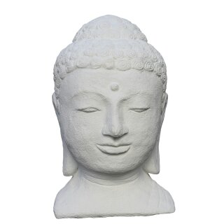 Buddha-head, 40 cm, natural concrete finishing or white painted