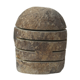 Stone lantern with slits, various sizes H 30 - 65 cm, hand carved from riverstone