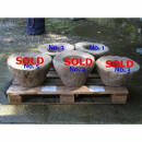 """Antique stone trough / stone mortar """"Lumpang"""" from Java, Ø about 40 cm"""