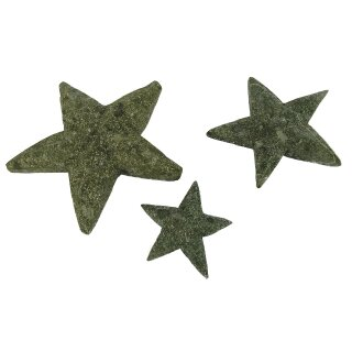 Set of 3 stars, hand carved from basanite