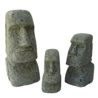 Moai, Easter Island Head, various sizes H 15 - 200 cm, hand carved from basanite