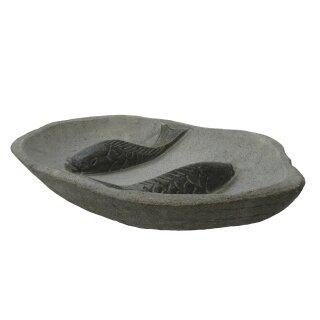 "Bird bath "" fish"", Ø 35 - 40 cm, hand carved from riverstone"