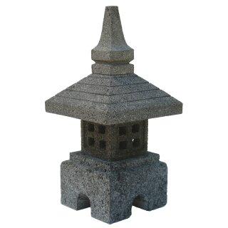"""Steinlaterne """"Bali"""", H 40 cm, Steinmetzarbeit aus grauem Lavastein (Andesit)"""