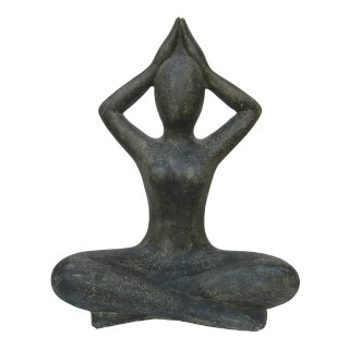 Yoga Lady, Shukasana, arms low, various sizes H 40 - 80 cm, in black antique or white antique
