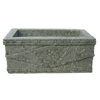 Plant container with carving, L 75 cm, hand carved from basanite