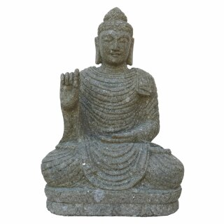 "Sitting Buddha ""Vitarka, teaching gesture, H 75 cm, hand carved from basanite"