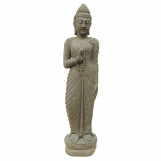 "Standing Buddha with prayer chain, ""Vitarka, teaching gesture, H 150 cm, hand carved from basanite"